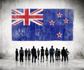 Silhouettes Group of People with New Zealand Flag