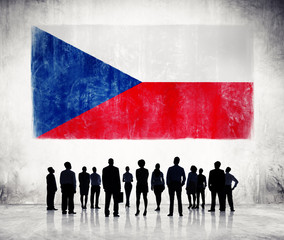 Silhouettes of Business People with Czech Flag