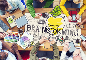 Diverse People with Photo Illustrations Brainstorming