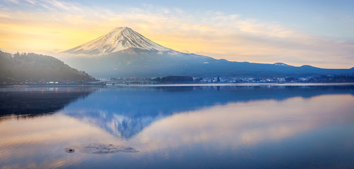 Mt.Fuji in morning Winter at Lake Kawaguchiko