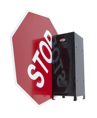 Stop Sign Next to a Locker