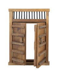Wooden Castle Door with Wooden Bar UnLocked