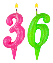 Birthday candles number thirty six isolated on white background
