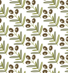 Seamless pattern of olives