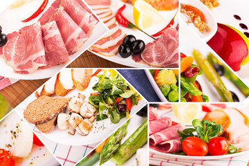 Food collage from pictures of different food