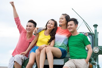 Cheerful Asian young people