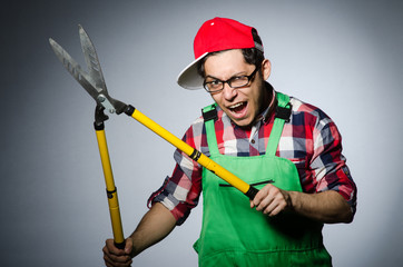Funny man with giant shears