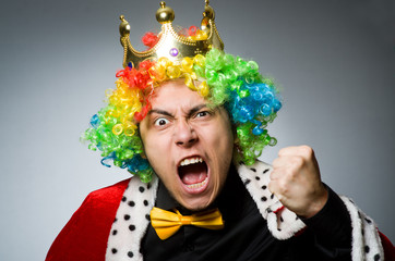 King businessman in funny concept