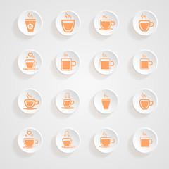 coffee Mug  Icons button shadows  vector set