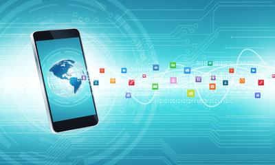 Smartphone communication internet connection background