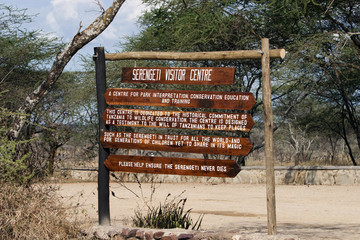 Serengeti information centre sign