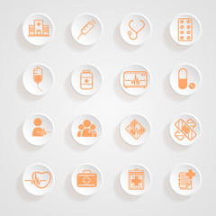 Medical Icons  button shadows  vector set