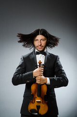 Man violin player in musican concept