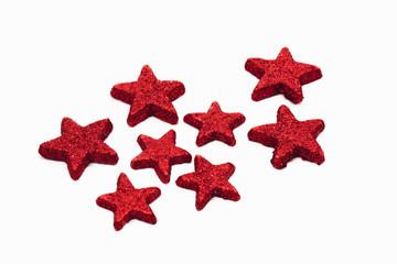 Rote Sterne auf weißem Hintergrund