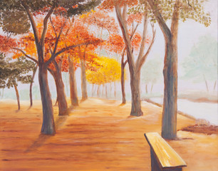 Painting showing beautiful sunny autumn day in a park