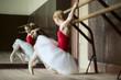 Ballerina girl sitting