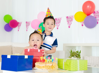 Birthday party of asian kid