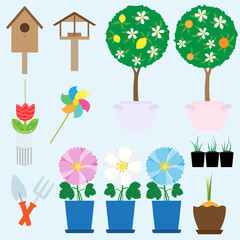 Garden collection. Vector set