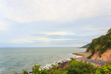 Coastal road sea at Khung Viman bay, Chanthaburi, Thailand