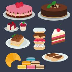 Flat modern design desserts