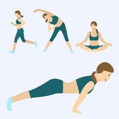 Flat modern design workout
