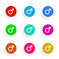 male gender flat icon vector set