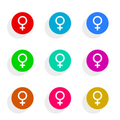 female gender flat icon vector set