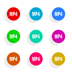 mp4 flat icon vector set