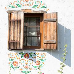 Window in ukrainian house, in Pirogovo, Kiev
