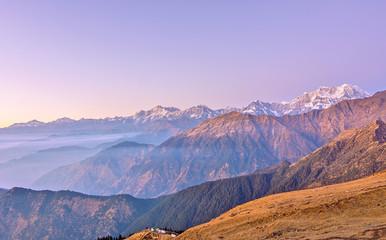 late sunset scene over high Himalayan landscape