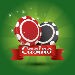 casino chips red ribbon