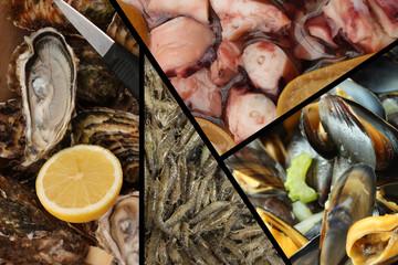 Fruits de Mer : Huître - Crevette - Moule - Poulpe