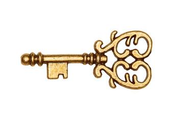 Golden key isolated on white