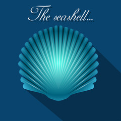 Sea scallop seashell blue icon. Vector.