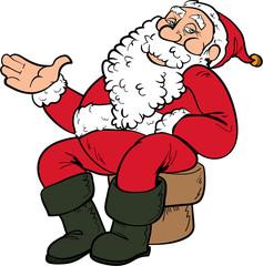 Cartoon Santa sitting on a chair