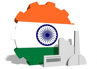 national flag of the india on gear and factory icon