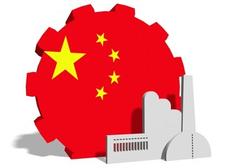 national flag of the china on gear and factory icon