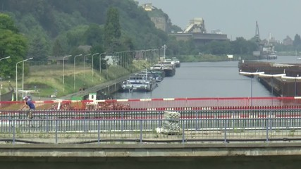 Sailing into the sluice of Maastricht in the Netherlands