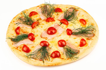 Cheese pizza with tomatoes