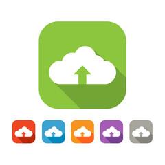 Color set of flat cloud uploading icon