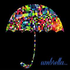 Colour umbrella on the black background. Vector