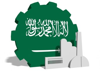 national flag of the saudi arabia on gear and factory icon