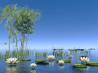 Bamboo and lily flowers - 3D render