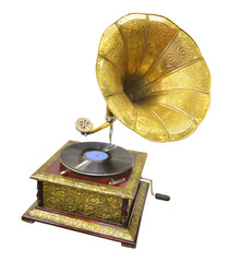 Old gramophone isolated