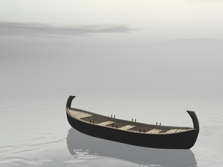Peaceful wooden boat - 3D render