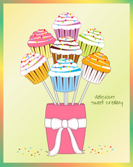 vector cupcake in bouquet