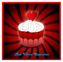 vector red velvet cupcake