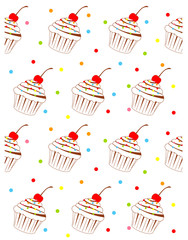 vector background with cupcake pattern