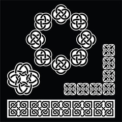 Irish Celtic patterns, knots and braids on black