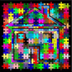 maison caméléon, mimétisme fond puzzle couleurs